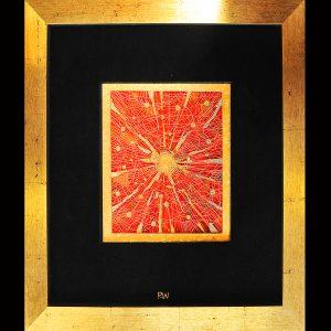 Äußerst feine, freie Arbeit in der alten Technik der Teneriffa-Spitze, Goldfäden, Seide, Samt. Blattgold, Perlen, Format im Holzrahmen 55 x 65 cm