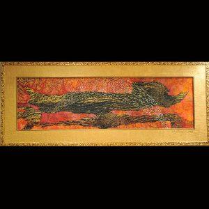 Vielschichtige Rindendruck-Monotypie Pigmentfarben - handgeschöpftes Druckpapier Vergolder-Rahmen 60x165 cm