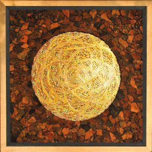 Skellettierte Farbaufträge - Blattgold, Rost 62 x 62 cm Objekt-Rahmen