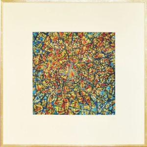 Sekelettierter Pigmentdruck auf Wachs und Metall - Ölpigmentfarben 82 x 82 cm - Holzrahmen