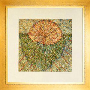 Skelletierte Monotypie, Pigmentfarben auf Metall-Hintergrund, Blattgold, im Holzrahmen 85 x 85 cm