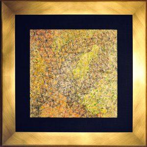 Stickerei auf Pigmentdruck Metall - Blattgold - Wachs - 62 x62 cm Wild-Seiden-Passepartout