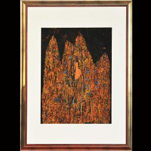 Rindendruck auf handgeschöpftem Papier und Metall - Ölpigmentfarben 115 x 75 cm im Holzrahmen