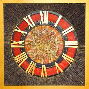 Goldfäden, Öl-Pigmentdruck, Wachs, Metalle / Ziffernblatt einer Turmuhr / Format im Rahmen 130x130 cm