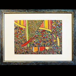 Skellettierter Pigmentdruck auf unterschiedlichen Metallflächen - Wachs - Blattgold Holzrahmen 118 x 78 cm