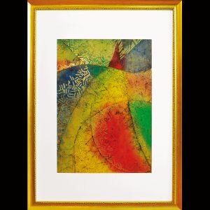Pigmentdruck, Wachs, Metall, Blattgold / Format im Rahmen 115x85 cm