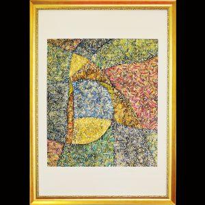 Pigmentdruck, Wachs, Metall, Blattgold / Format im Rahmen 80x110 cm