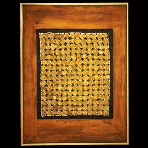 Skellettierte Metallflächen - Rost - Blattgold Holzrahmen 63 x 85 cm