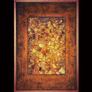 Skellettierte Metallflächen - Meeres-Materialein - Ölpigmentfarben - Rost - Blattgold Holzrahmen 106 x 74 cm