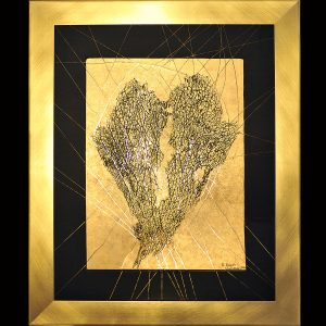 Ölpgment, Rispendruck, Wachs, Metall, Blattgold / Format im Rahmen 62x76 cm