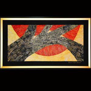 Ölpigment, Rispendruck, Wachs, Metall, Blattgold / Format im Rahmen 95x165 cm