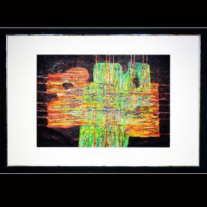 Rindendruck auf handgeschöpftem Papier und Metall - Ölpigmentfarben Holzrahmen 117 x 77 cm
