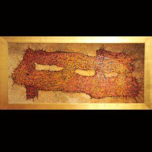 Ölpigment, Rispendruck, Wachs, Metall, Blattgold / Format im Rahmen 85x170 cm