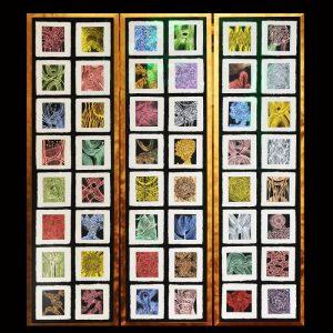 Pigment-Aquarell-Unikate, Bütten, Prägepapier / Format im Rahmen 3 mal 40x145 cm