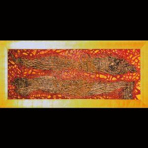 Ölpigment, Rispendruck, Wachs, Metall, Blattgold / Format im Rahmen 96x185 cm