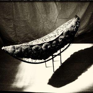 Transparent plastisches Objekt, Metall, Murano-Glas, Länge 138 cm