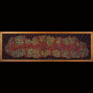 Fadenkunst-Objekt - im Rahmen 35 x 106 cm, Wolle, Seide, Metallfäden