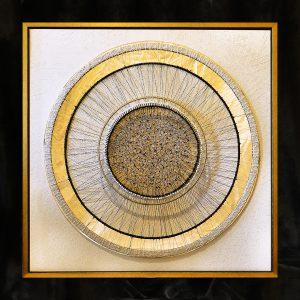 Fadenkunst-Objekt, Monotypie auf skelletierter Metallfläche
