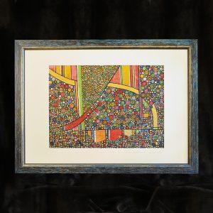 Monotypie, skelletierter Pigmentdruck auf Metallflächen, Blattgold, Wachs