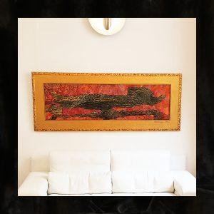 Skelletierte Monotypie, Pigmentfarben auf Metall-Hintergrund, Blattgold, Vergolder-Rahmen