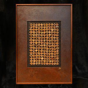 Skelletierte Metallflächen, Rost, Blattgold