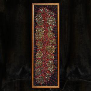 Fadenkunst-Objekt im Rahmen, Wolle, Seide, Metallfäden